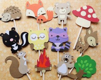 24 Woodland Cupcake Toppers, Cupcake Toppers, Woodland Party Decorations, Forest Animal Cupcake Toppers