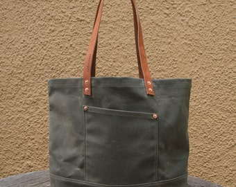 Waxed Canvas Market Tote Bag - FREE Standard Shipping in US - Olive - Leather Handles - Copper Rivets - Unisex - Made in USA