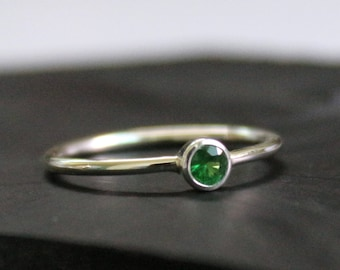 Natural Tsavorite Sterling Silver Stacking Ring - Engagement Ring - Tsavorite Garnet Ring - Gift For Her