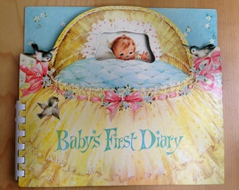 Vintage 60's Baby's First Diary and Picture Album New in its Original Box