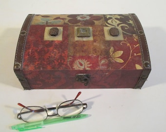 Decorated Keepsake Box, Vintage, Faux Leather Trim, Memento Embellished Storage, Decorative Display Treasure Trunk
