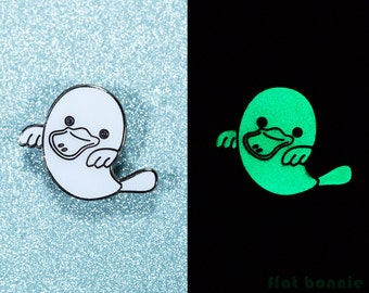 Glow in the dark enamel pin platypus ghost jacket pin, Kawaii platypus backpack pin GID, Cute animal lapel pin metal badge gift, Flat Bonnie