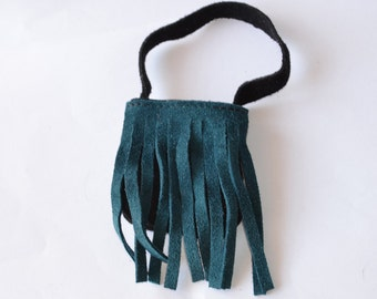 Bag for dolls-green bangs and black bag