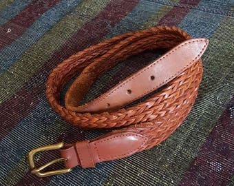 Genuine Leather Braided Belt Size 40