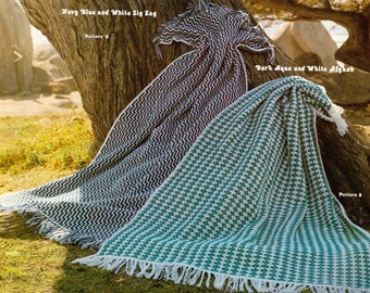 Zig Zag and Checkered Afghans- 2 Vintage Blanket Crochet Patterns, zig zag stripes afghan, chevron pattern, PDF InStAnT DoWnLoAd