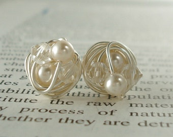 Petite cream / clear - Mix It Up Series- Swarovski Glass Pearl and Crystal Bead Wire Wrapped Stud Earrings