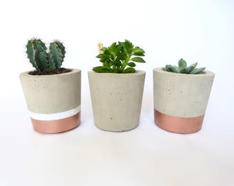 Concrete plant pot | medium | dipped | by Olive Jennings Furniture