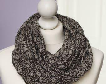 ENVOI GRATUIT // Snood en tissu à fleurs marron gris // voile // letitsnood