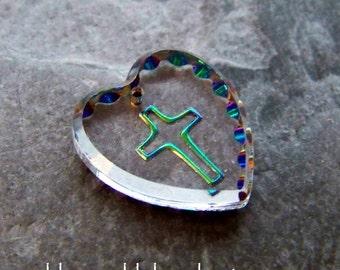 Intaglio Pendant-Religious Pendant-Cross Pendant-Vintage West German Reverse Painted Intaglio Vitrail Cross & Heart Glass Pendant-1