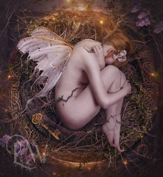 mystical fantasy fairy pixie sleeping art print