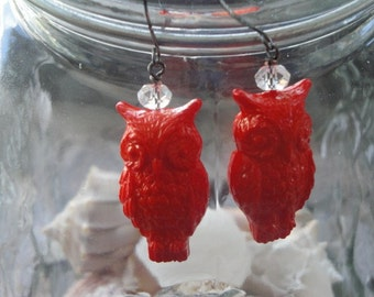 Lucite Owl Earrings - Burnt Orange