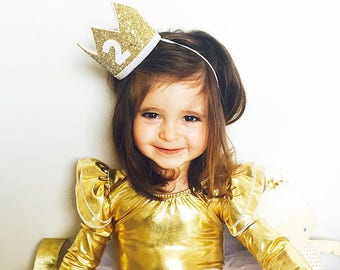 2nd Birthday Crown | 2nd Birthday Outfit Girl | Second Birthday Outfit Girl | Birthday Hat | Birthday Crown Girl | Gold White
