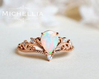 14k opal ring Etsy