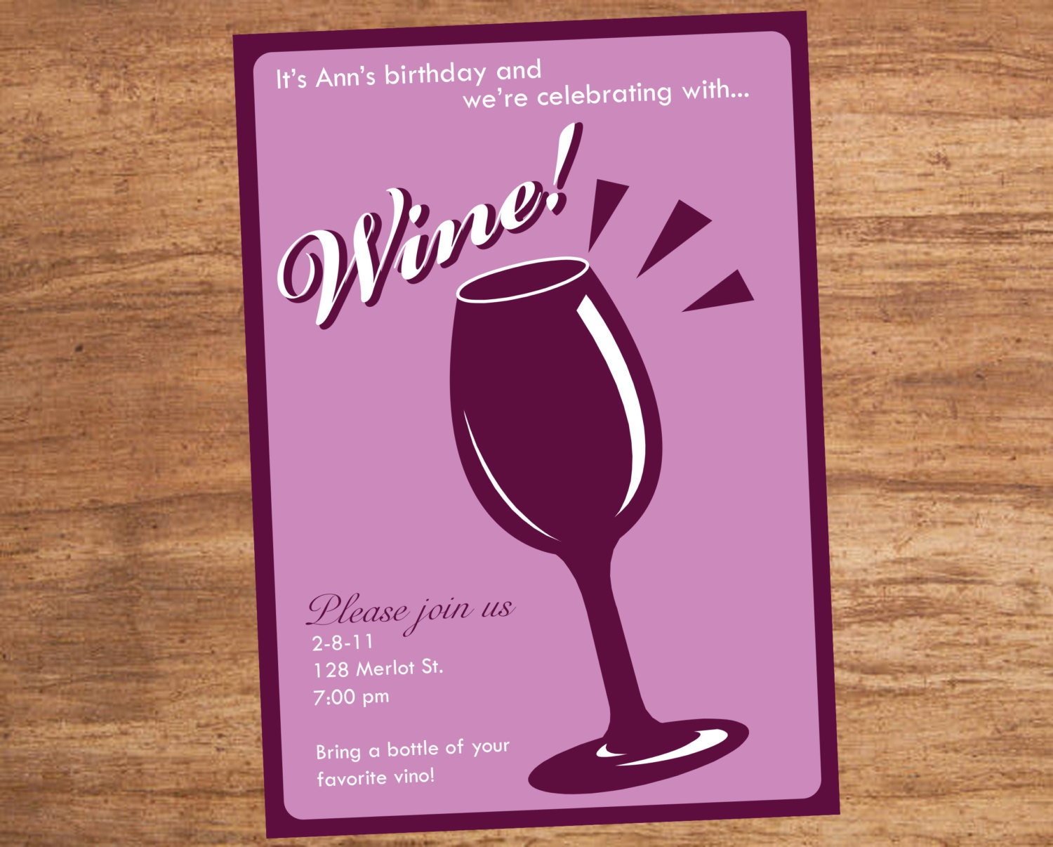 Wine Tasting Party Custom Printable Invitation