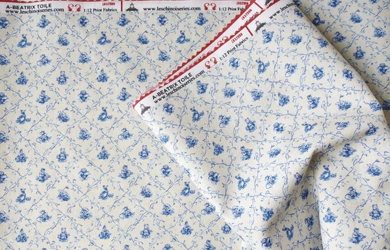 NEW Dollhouse Miniature Matching Toile Fabric, Beatrix, Scale One Inch
