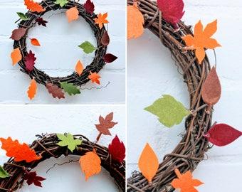 Autumn Wreath, Felt Leaves, Autumn Decor, Front Door Decor, Front Door Wreaths