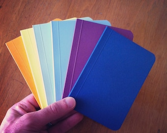 Plain Color Notebook, Color Pocket Journal, Original Handmade Mini Diary and Jotter, Blank Book