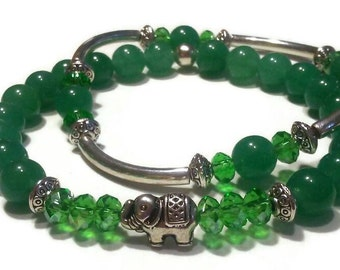 Green Aventurine Green Crystal Elephant Bead Accent Stretch Beaded Bracelet Set