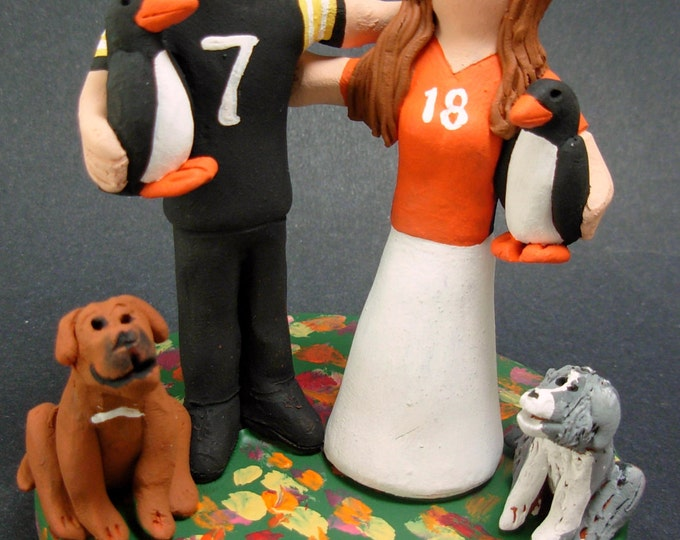 Pittsburg Penguins Football Wedding Cake Topper, Pittsburg Penguins Wedding Anniversary Gift, NFL Football Wedding Anniversary Gift/Figurine
