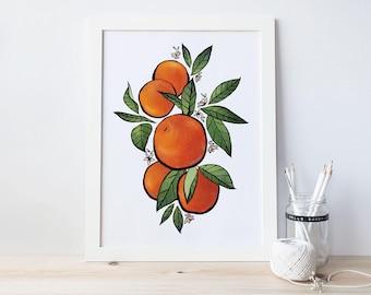 Oranges Flowers Garden Floral Illustration Print