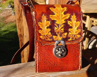 OOAK woodland oak leaf and acorn hand carved leather shoulder bag embossed leather with antiqued silver lock closure in 2 tone brown