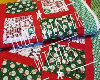 Quilted Christmas Table Runner Topper, Jolly Winter Wishes, Snowmen, Xmas Trees, Red, Green, Holiday Text, Traditional, Santa, Snow, Happy