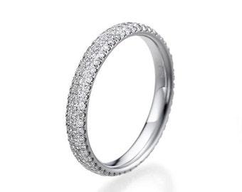 Delicate Wedding Band, 14K White Gold Wedding Ring, 1 TCW Diamond Wedding Band, Gold Wedding Band, Womens Wedding Band