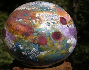 Flat Glass balloon, blown glass globes, handblown ball, glass garden art, glass globe, blownglass globe, garden globe, orb garden art