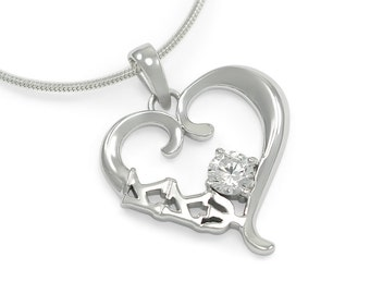 Kappa Kappa Psi Sterling Silver Heart Pendant with a Swarovski Clear Crystal // ΚΚΨ Sorority Jewelry // Heart Necklace // Sorority Gifts