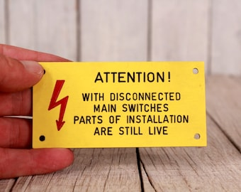 Warning high voltage sign, Danger sign, Yellow red wall sign, Wall hanging sign, Vintage collectible sign, Industrial decor, Flash sign