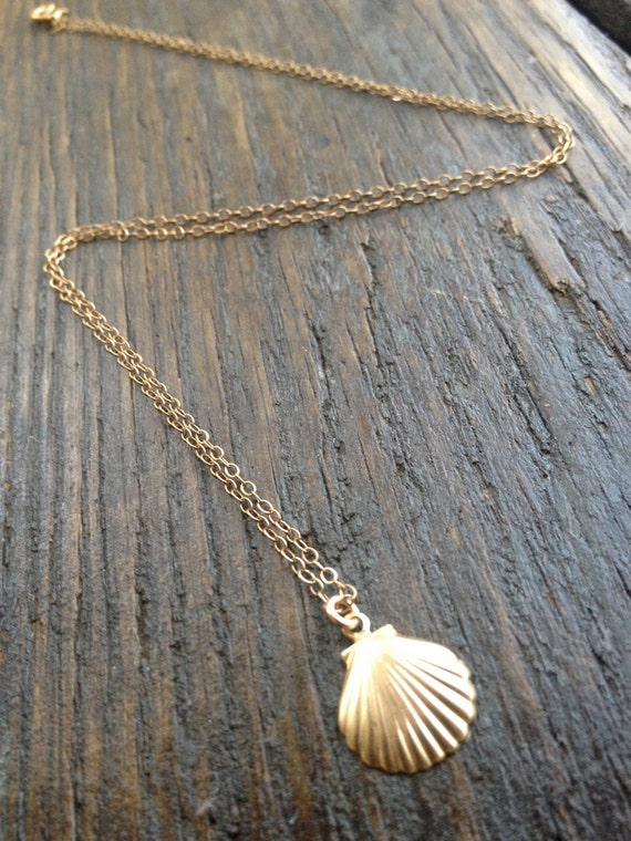 Gold Seashell Necklace Tiny Seashell Seashell Charm