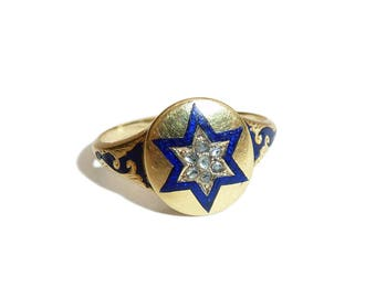 Victorian 18 Carat Enamel And Old Cut Diamond Star Ring With Locket Back