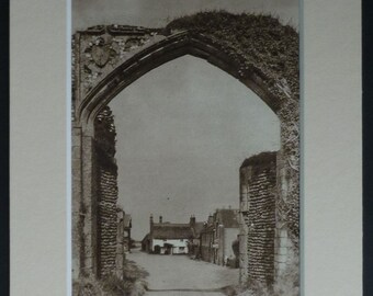 1940s Vintage Norfolk Architectural Print of the Bromholm Priory Gateway at Bacton Beautiful sepia photography, vintage architecture decor