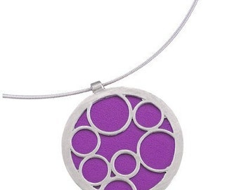Purple Necklace, Recycled Aluminum Bubble Pendant