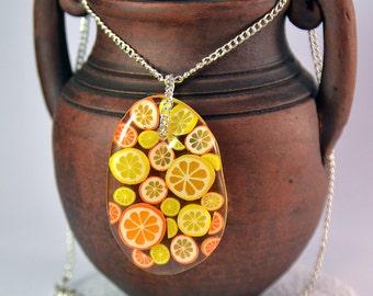 Lemon and orange clear Necklace - Citrus mix - Resin necklace - Lemon and Orange slices in Epoxy Resin - Pendant Handmade