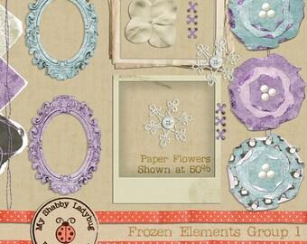 Frozen Textured Elements!  Frames, Flowers, and Torn Papers INSTANT DOWNLOAD Digiscrap Digital Paper Flowers