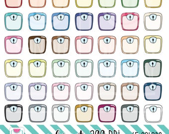 45 Doodle Weight Scale Clipart. Personal and comercial use.