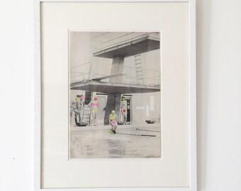 Original Art - Framed Original Paper Collage, One of a Kind - Modesty