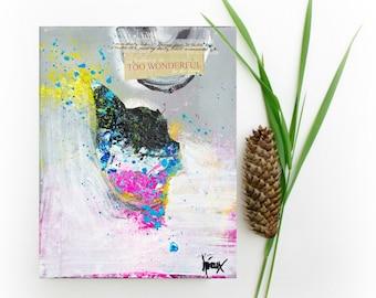 "Original mixed media, art on canvas, mixed media painting collage art, 8x10"""