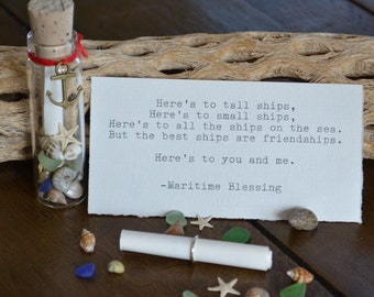 Friendship Typed Maritime Blessing Message in a Bottle with Gift Bag