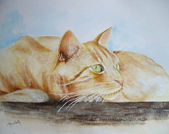 Watercolor painting unique painting made by me in 30 x 40 cm, thoughtful red cat