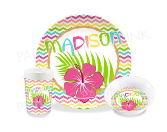 Aloha Chevron Melamine Dinnerware | Personalized | Customized | Buy 1 Piece or as a Set | Summer l Tropical | Hibiscus