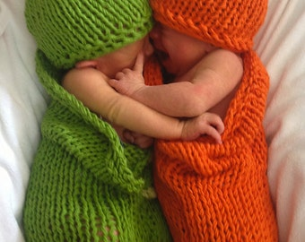 2 Knit Patterns- Carrots and Peas Baby Cocoons Costumes - DIY Knitting Bunting Patterns