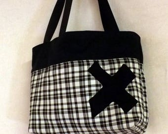 """Billbag"" black and Plaid tote bag"