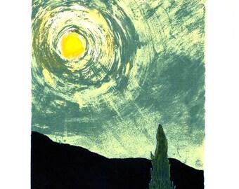 Judaica - Moon Light - Ernst Grunbaum - Original Serigraph