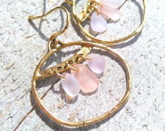 Strawberry Grape / Sea Glass Earrings / Gypsy Earrings / Sea Glass / Gold Bronze / Bridal Jewelry / Boho Chandeliers / Hoop Earrings