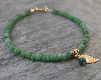 May birthstone jewelry Emerald bracelet Beaded bracelet Gold Emerald bracelet Birthstone bracelet  Genuine Emerald bracelet stone jewelry