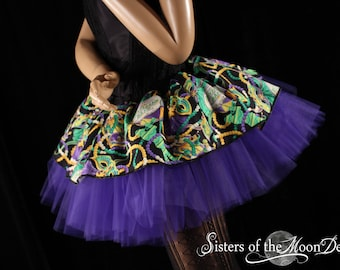 Mardi Gras Adult tutu skirt dixieland band costume carnivial party dress up race run purple green  -You choose Size - Sisters of the Moon