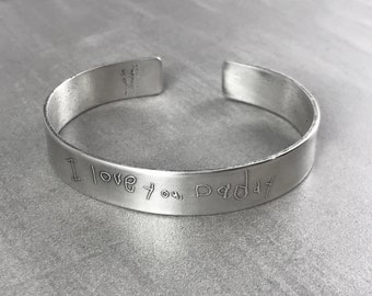 Men's Handwriting Solid Silver Story Cuff Bracelet Personalized Father's Day Memorial Custom Signature Mens Accessory Inscribed Engraved