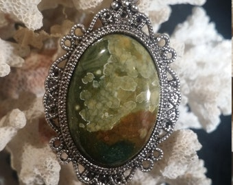 Rainforest Jasper Cabochon in Antiqued Silver Pendant